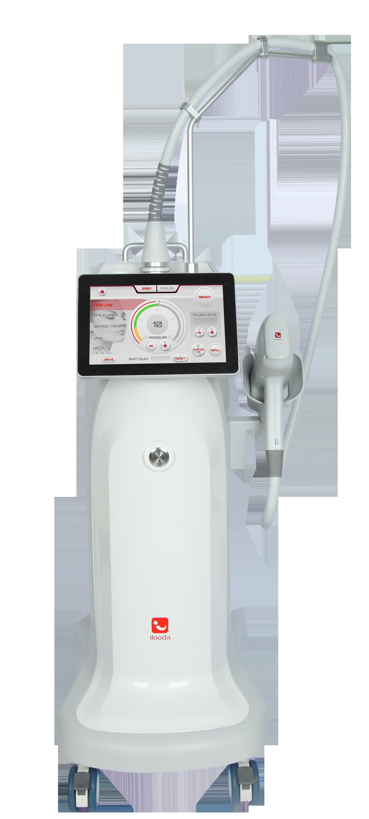 Máy thẩm mỹ Beau Jet hoạt động nhờ luồng áp lực âm hơi khí nén được đưa vào trong da